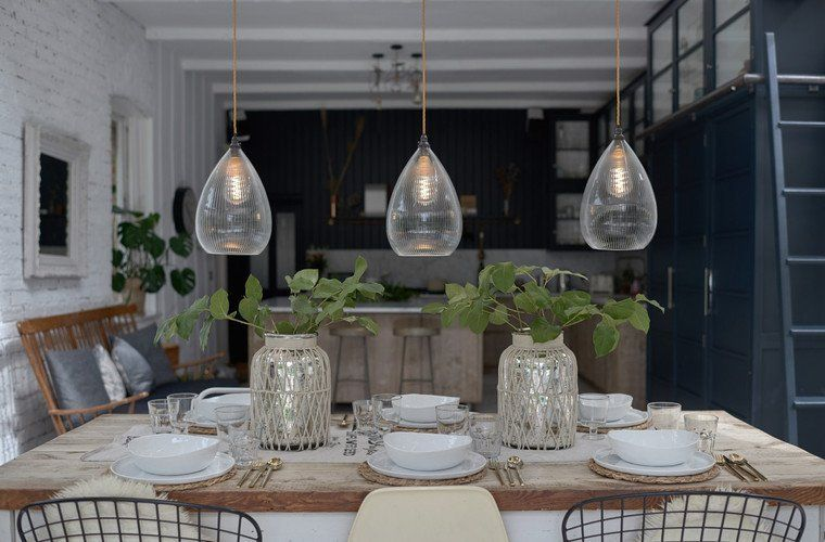 Clear Ribbed Glass Pendant Ceiling Light Teardrop Wellington Industrial Vintage Designer Retro Style Lights Over Dining Table Dining Room Lighting Pendant Lighting Dining Room