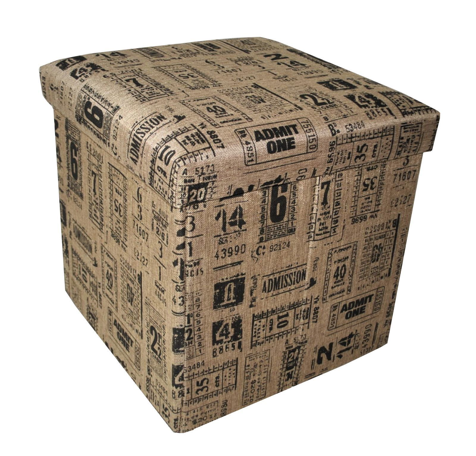 Pouf contenitore pieghevole con struttura in cartone pressato e rivestito con stoffa fondo - Mobili in cartone pressato ...
