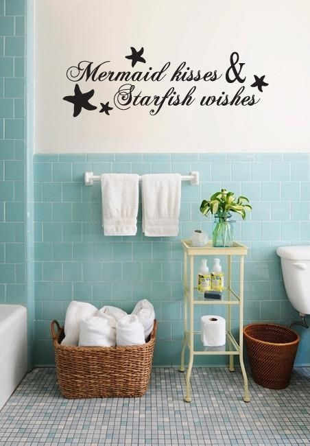 Mermaid Kisses And Star Fish Wishes Wall Decal Ocean Bathroom Sea - Wall decals beach quotes