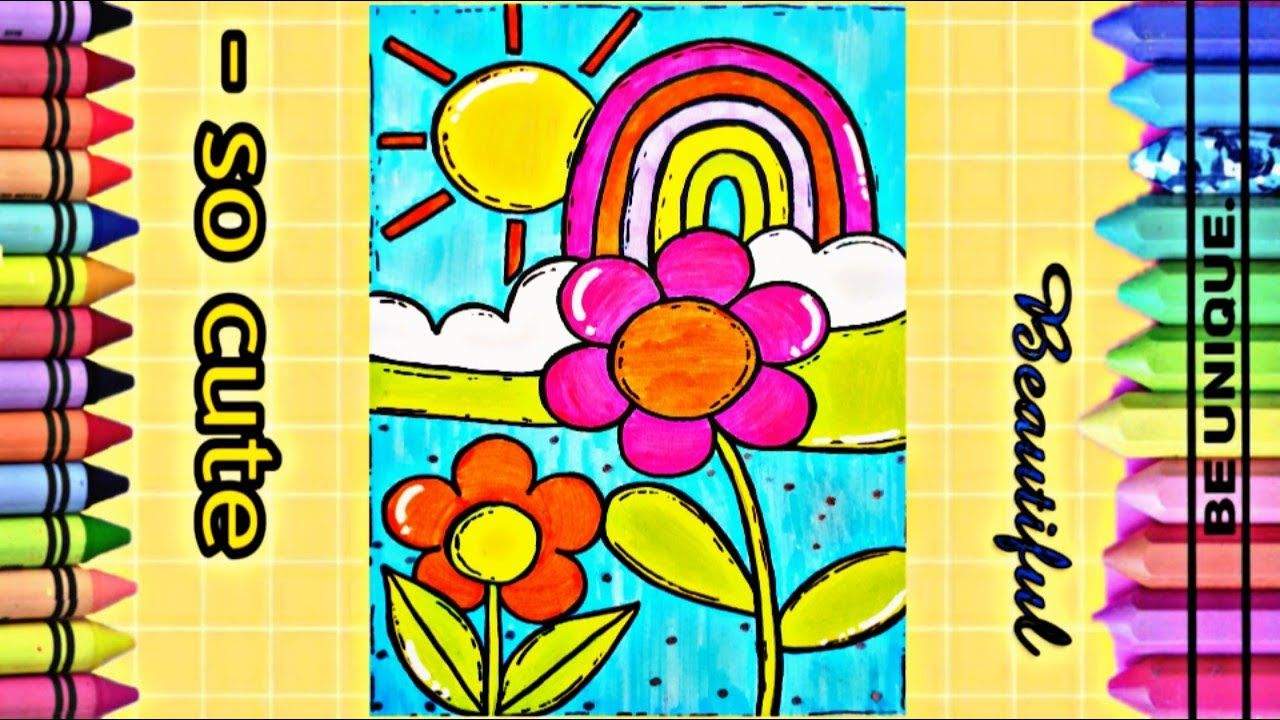 Draw Landscap With Rainbow And A Flowers تعليم الرسم رسم منظر طبيعي Rainbow Cute Draw