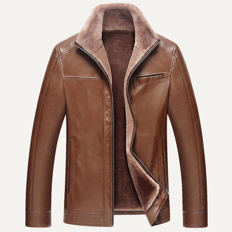 937aef7e5 England Style Vintage Mens Fur Leather Jacket Coat Super Quality Big ...