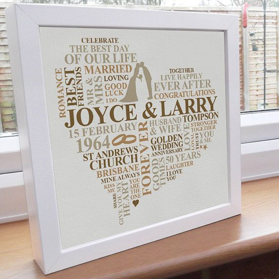 I Will Individually Design For You A Personalised Golden Anniversary Gift This Framed Artwo 50th Anniversary Gifts Anniversary Words Golden Anniversary Gifts