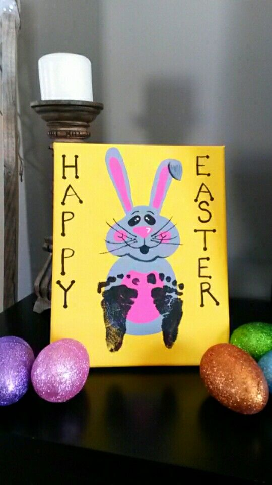 Baby footprints on easter bunny canvas great gift on a budget or baby footprints on easter bunny canvas great gift on a budget or decor idea negle Image collections