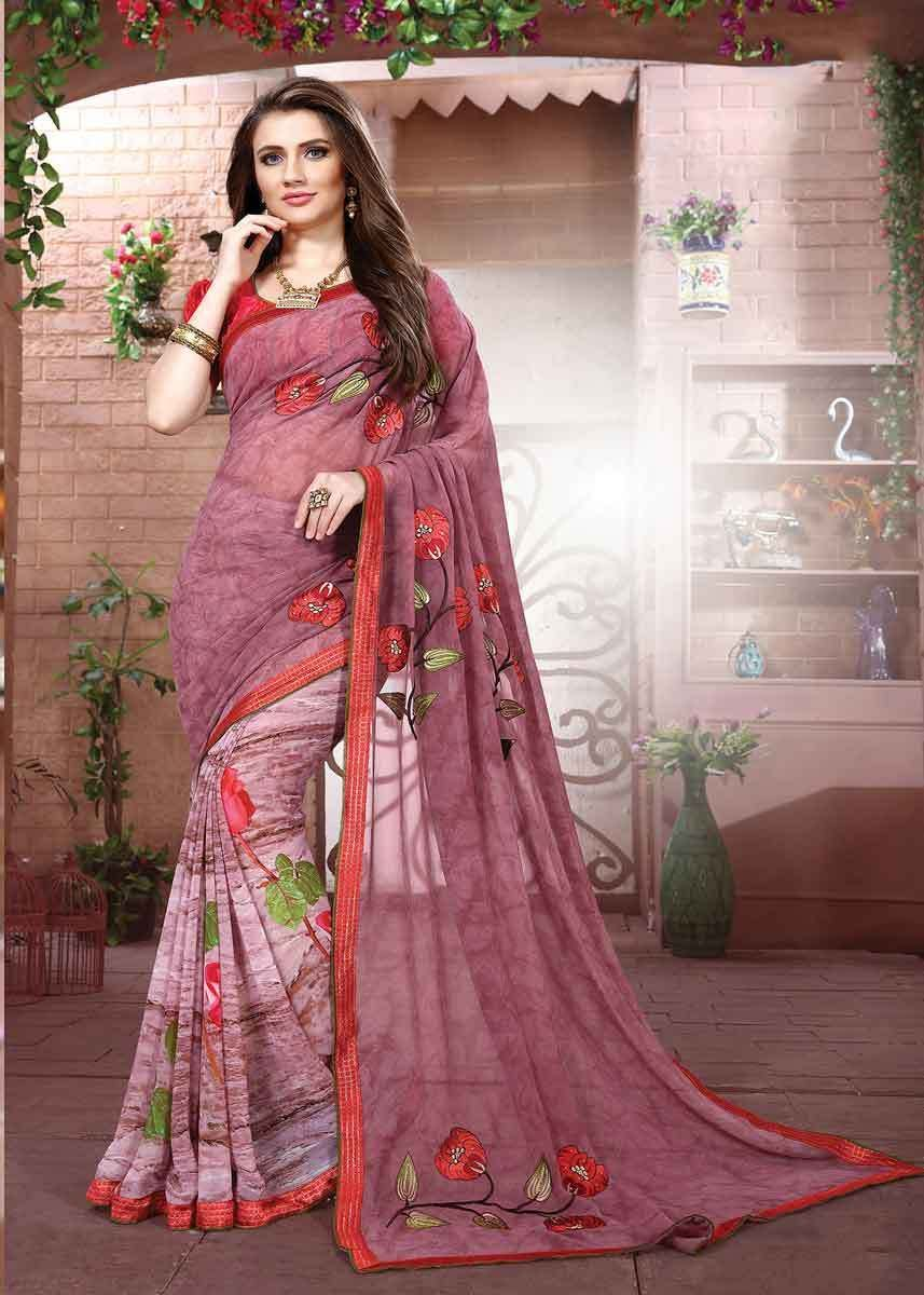 f59a894bcf Beautiful Pink Color Floral Design Georgette Saree in 2019 | Casual ...