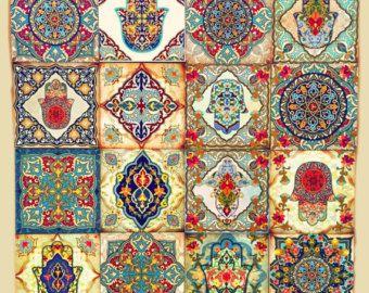 Muro marroquí arte hamsa Set conjunto de bloque de 4 por Ajobebe