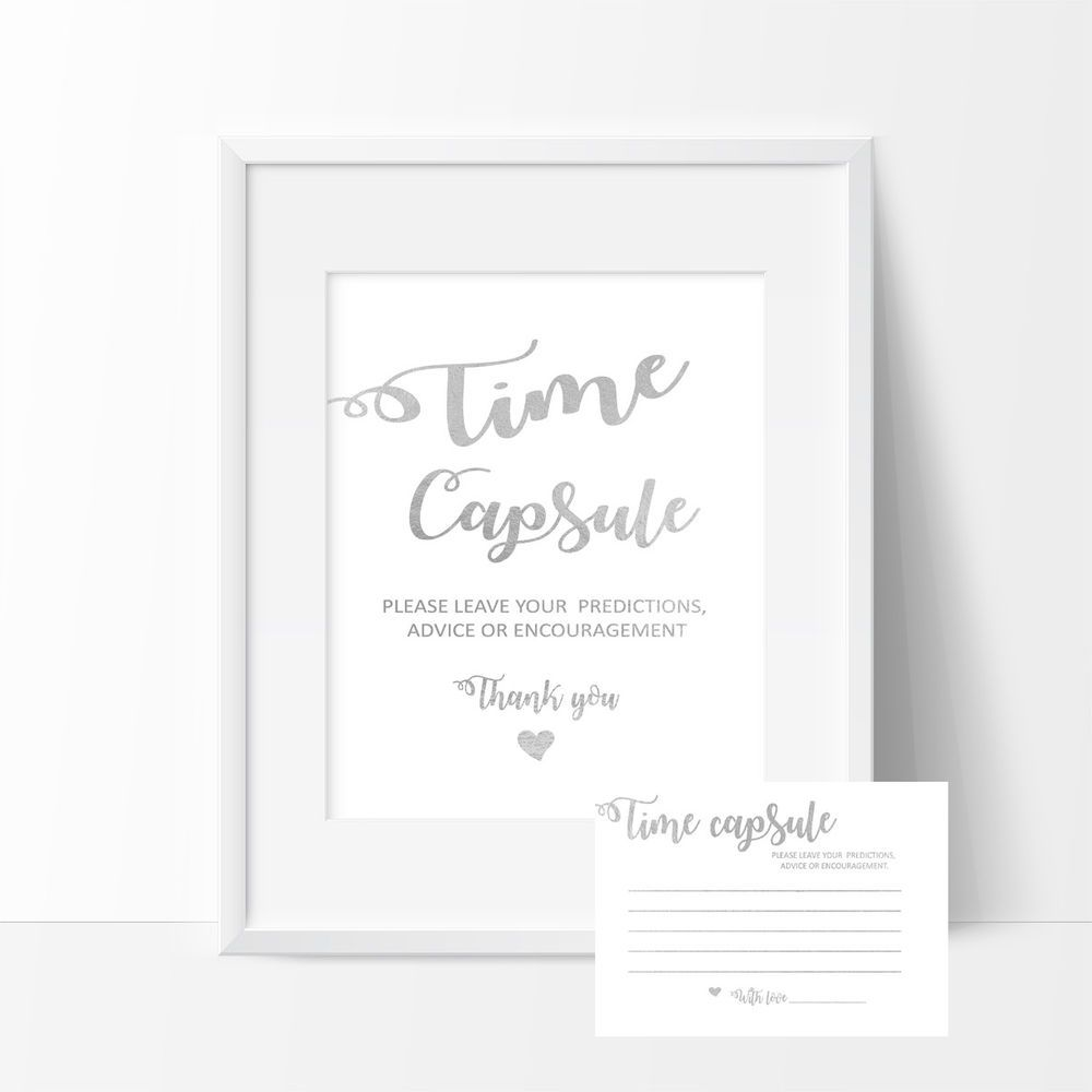 Time Capsule Sign And Cards Birthday Baby Shower Baptism Wedding