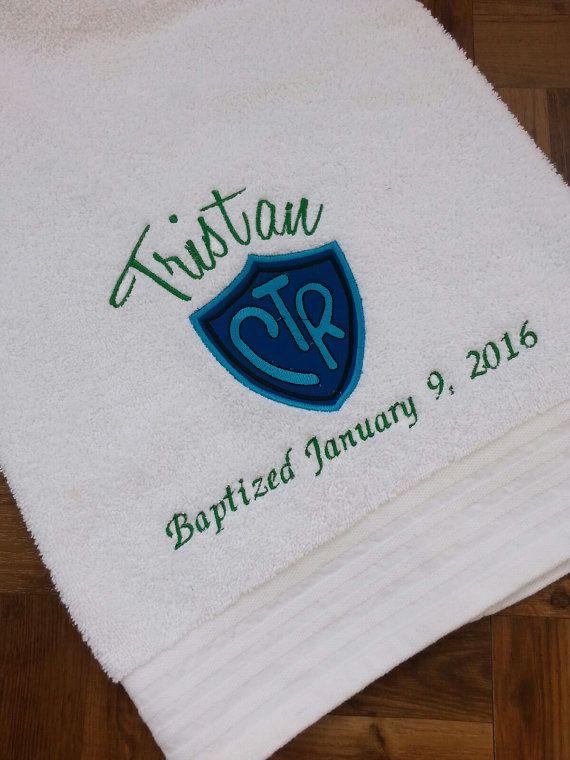 LDS baptism towel-CTR emblem applique | Pinterest | Bautismo, LDS y ...