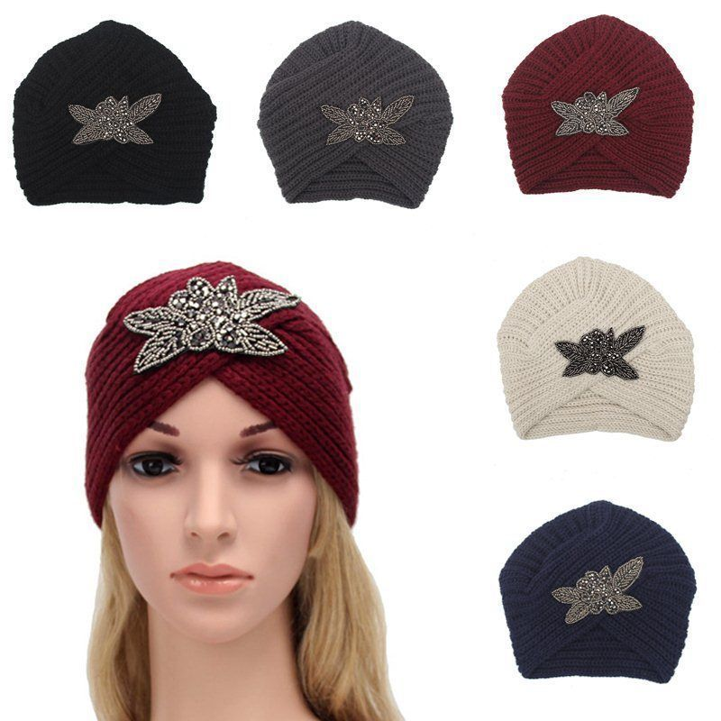 1 Piece Beauty Charm Women S Four Leaves Flower Woolen Cap Indian Beanie Hat e3ad20d44580