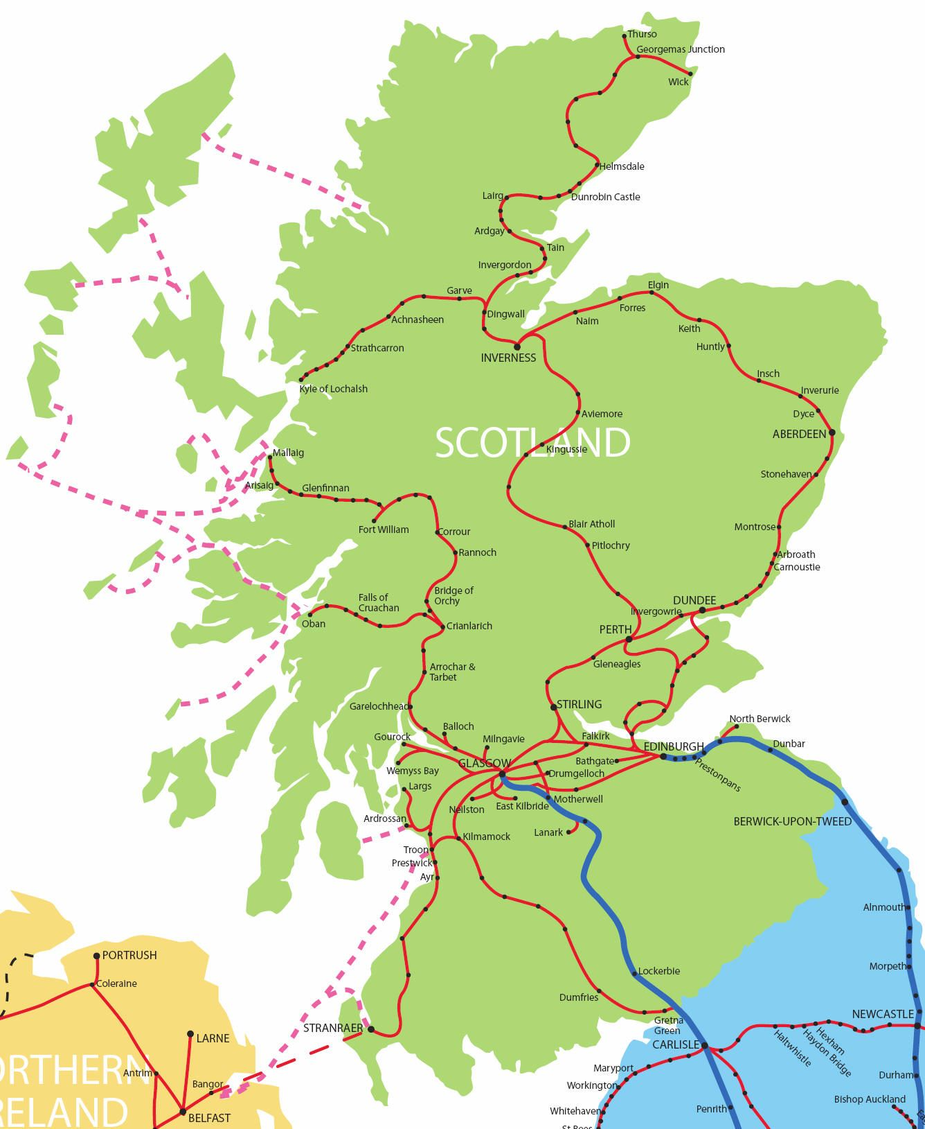 Anglonautes Cartes maps Scotland rail services map uk