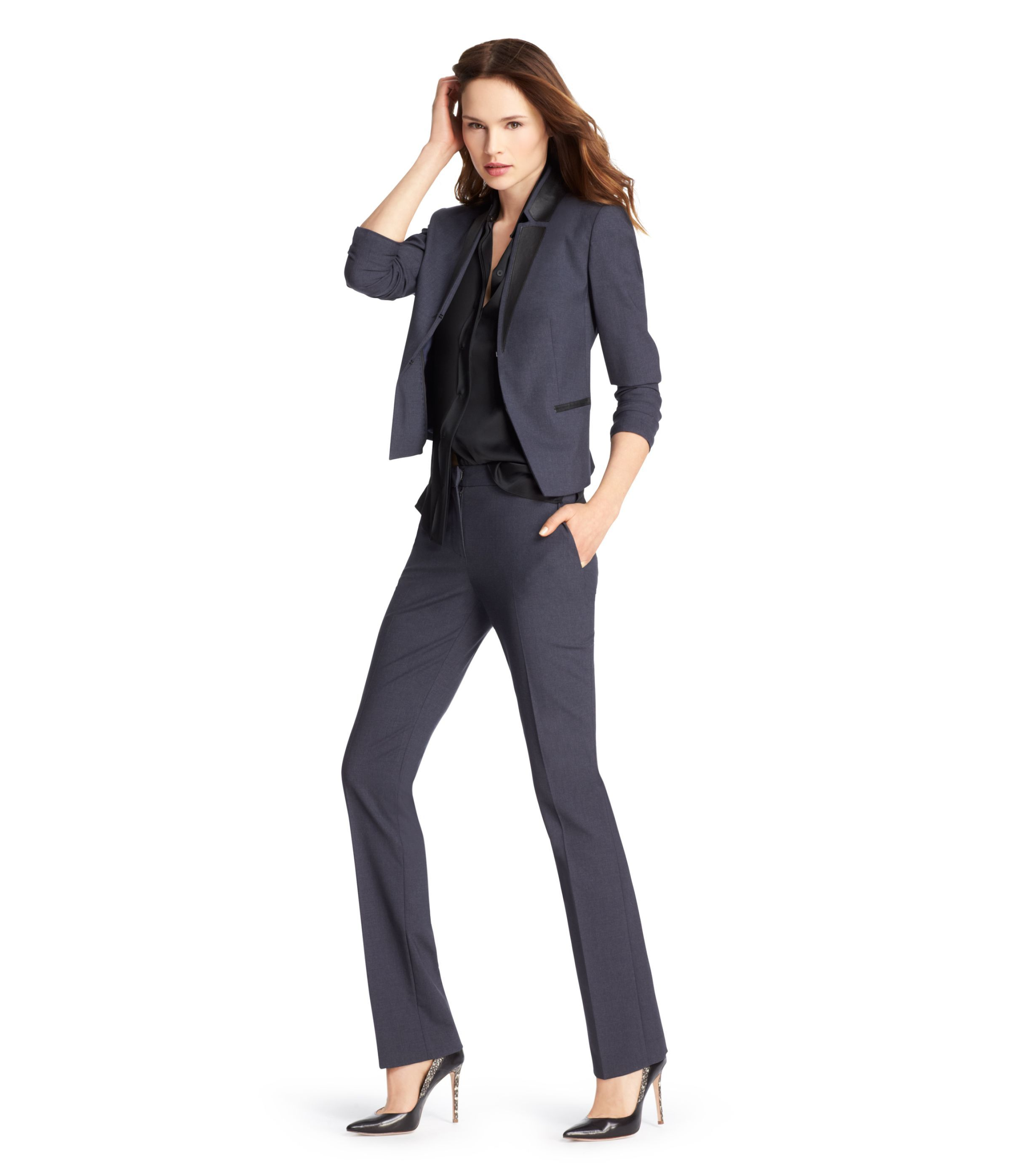 blue melange pant suit bianca jacket elie tahari 448 bc bp blue melange pant suit bianca jacket elie tahari 448