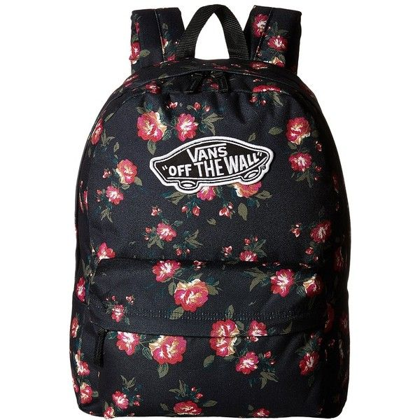 a42b2e359b Vans Realm Backpack (Floral Black) Backpack Bags (145 MYR) ❤ liked on  Polyvore featuring bags