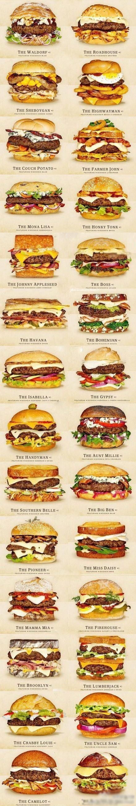http://www.cheeseandburger.com/  Click the link for 30 amazing sounding cheeseburgers! <- Oh, god, yum!