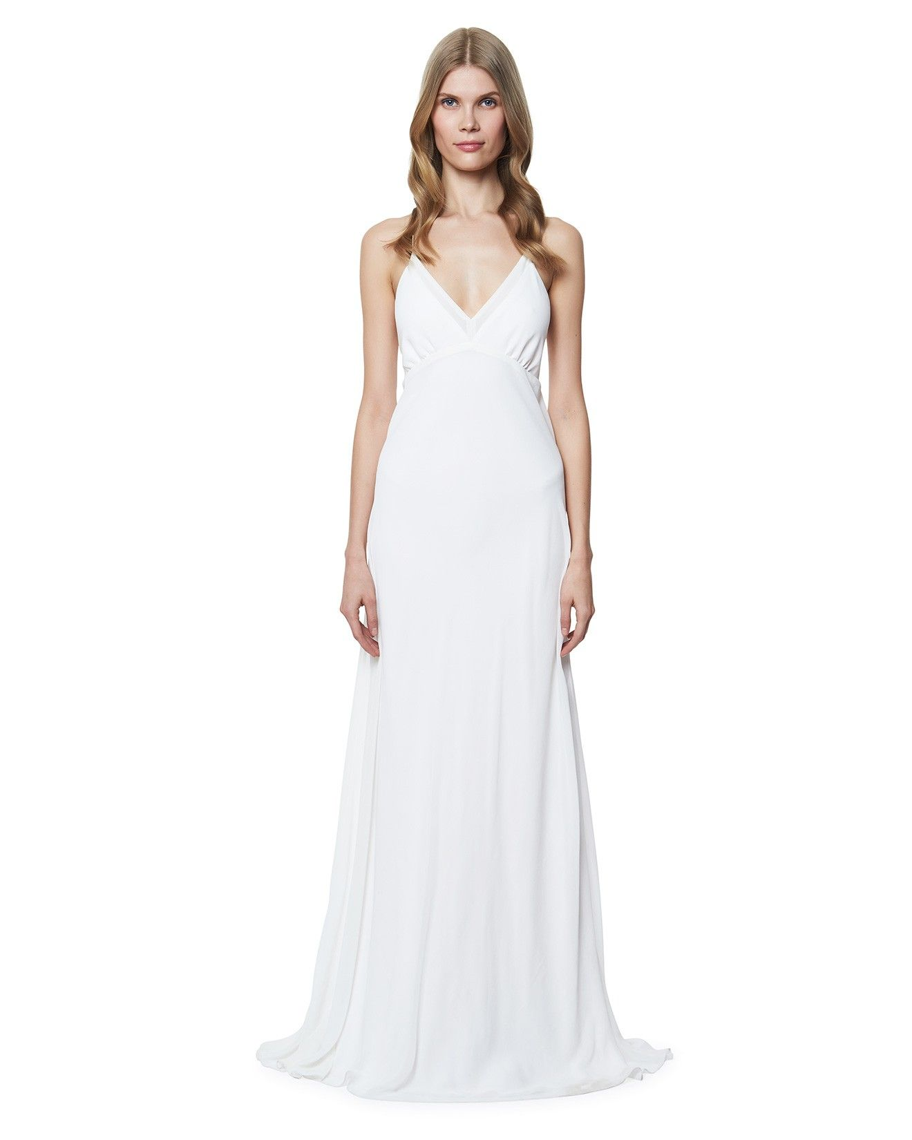 Wedding Dresses Under 500: Slip Gown In Ivory Chiffon With Sheer Detailing At Chest