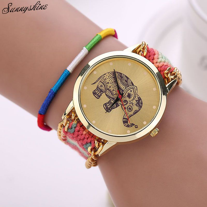 Click to Buy << New Women Girl Watches Handmade Weaved Braided ...