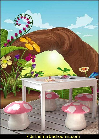 Fairy Themed Bedroom Decorations: Mushroom Chairs For Kids Room Fantasy Hill Wall Mural