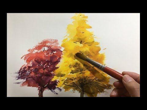 水彩画の基本 紅葉の樹木を描くコツ How To Paint Autumn Trees