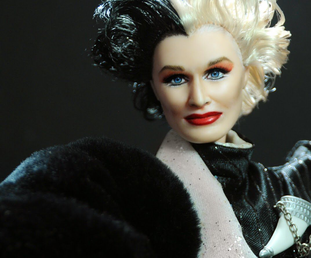 Glenn Close as Cruella de Vil as repainted and restyled by artist Noel Cruz of ncruz.com for an eBay auction. Visit his site for more of his work and the eBay listing link.