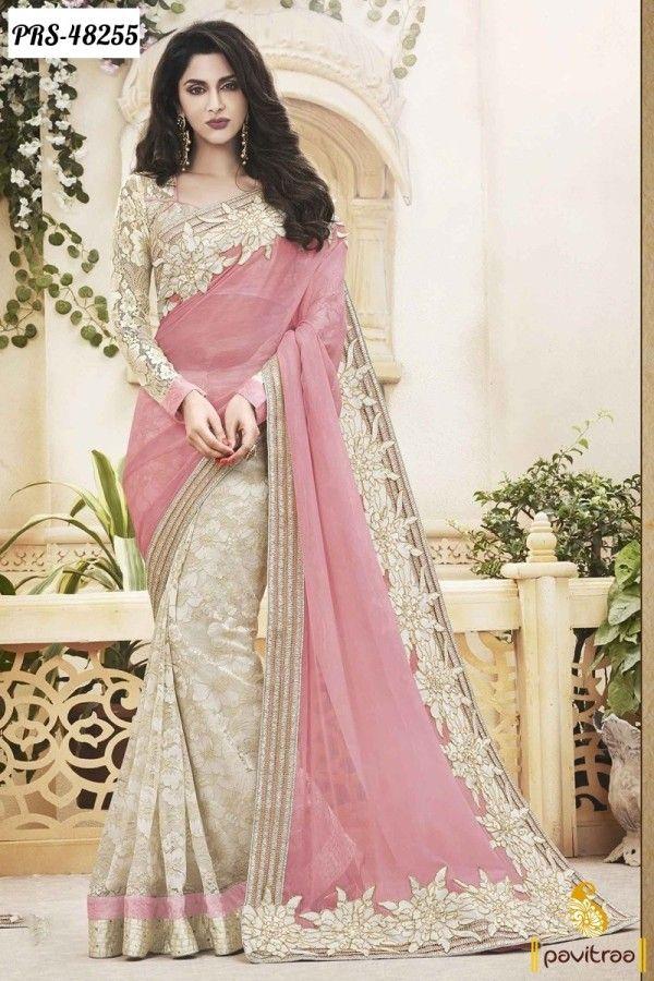 Most popular light pink chiffon designer saree collection for Sari inspired wedding dress