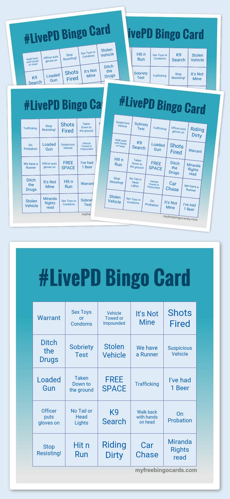LivePD Bingo Card Free printable bingo cards, Bingo