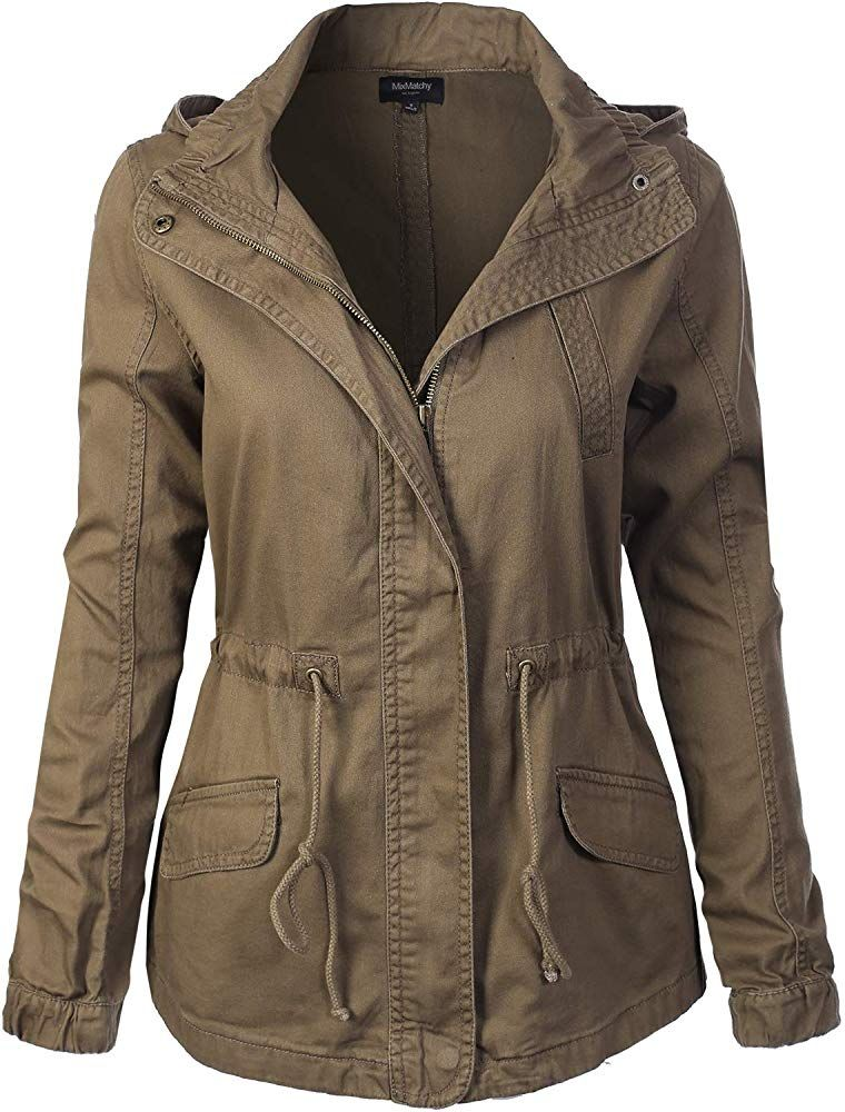 MixMatchy Womens Lightweight Front Zipper Solid Utility Anorak Hoodie Jacket