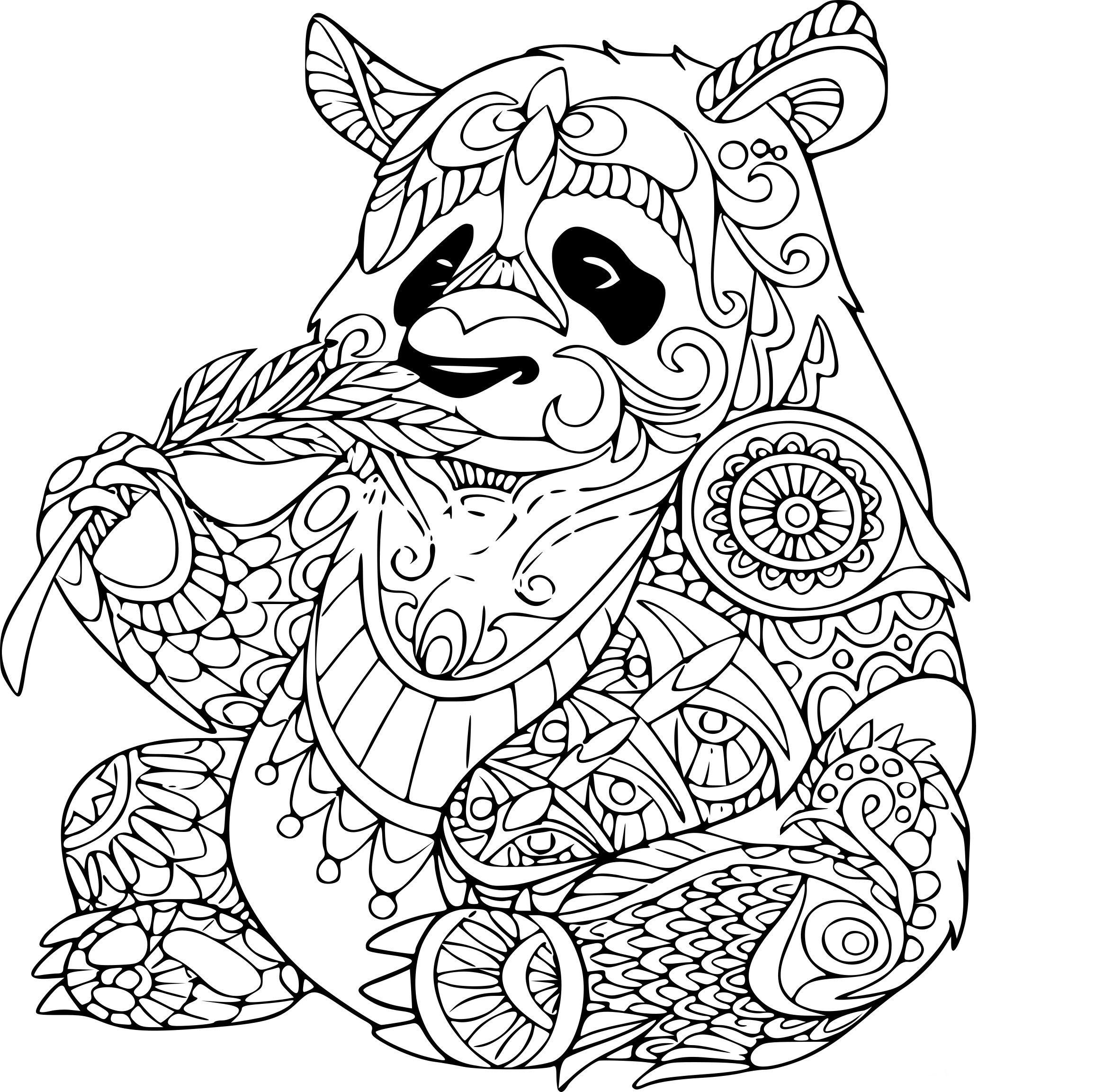 Coloriage Animaux Imprimer Gratuit.Coloriage Panda Anti Stress A Imprimer Sur Coloriages Avec