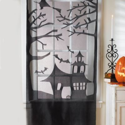 Haunted House Lace Door/Window Decoration - BedBathandBeyond - decorate house for halloween
