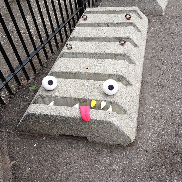 Adding Eyes and Teeth Brings Everything to Life - Street artist Aidan Glynn. Gloucestershire Resource Centre http://www.grcltd.org/scrapstore/