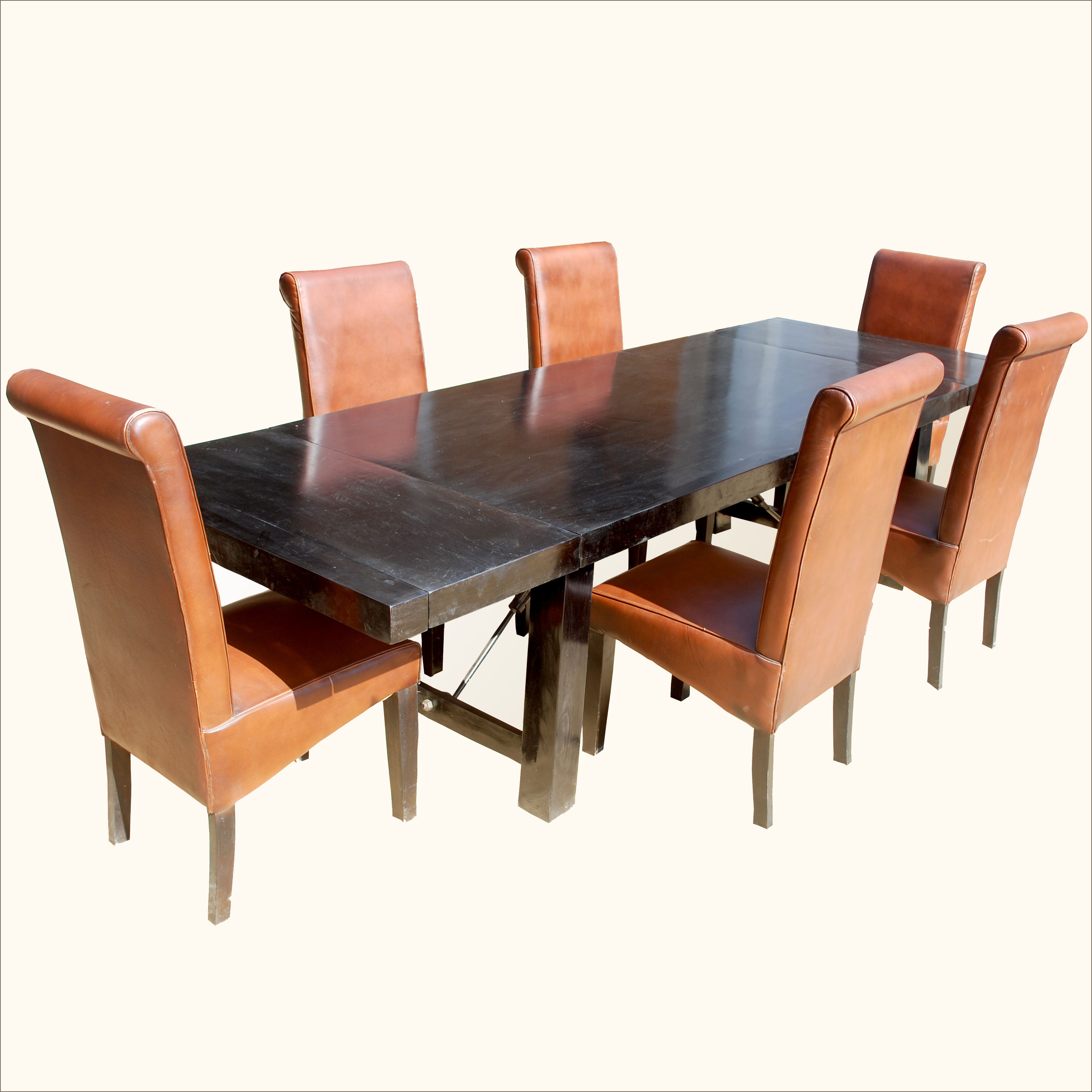 The Light Orange Leather Chairs Contrasts Beautifully Against The
