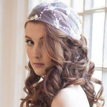 A little bit boho!  Vintage Bohemia Bandeau Lace Bridal Cap