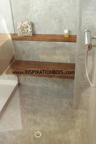 Banc de douche rabattable et tag re en teck massif for Photo douche italienne avec banc