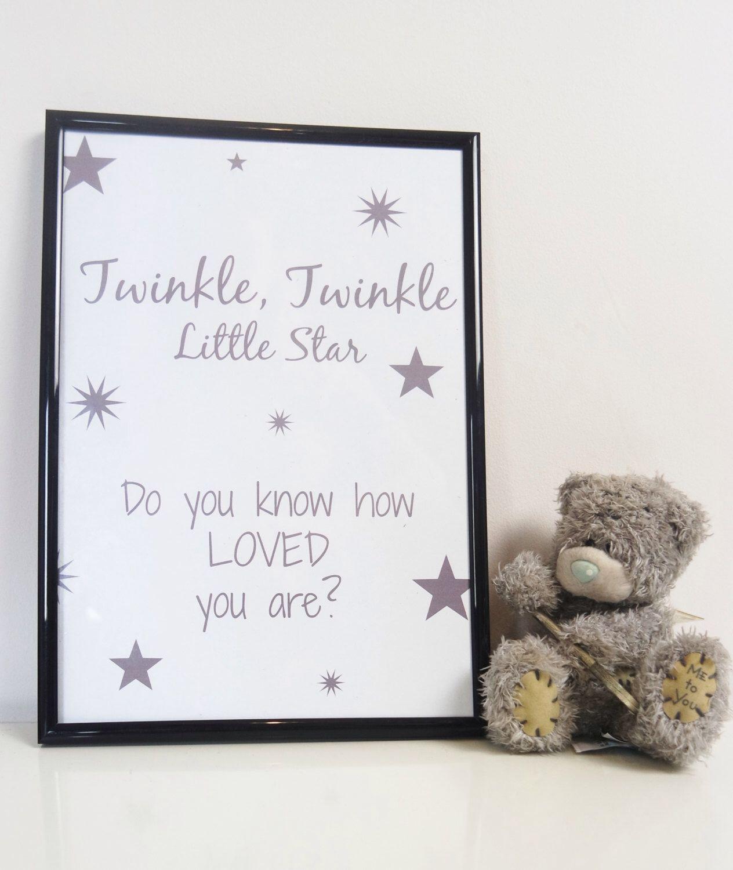 twinkle twinkle little star print nursery print children quote