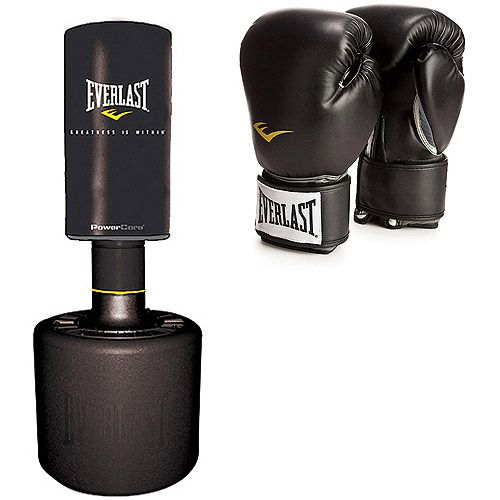 Everlast Powercore Free Standing Heavy Bag And Pro Style Black Boxing Gloves Value Bundle Exercise Fitness Walmart Heavy Bags Everlast Heavy Punching Bag