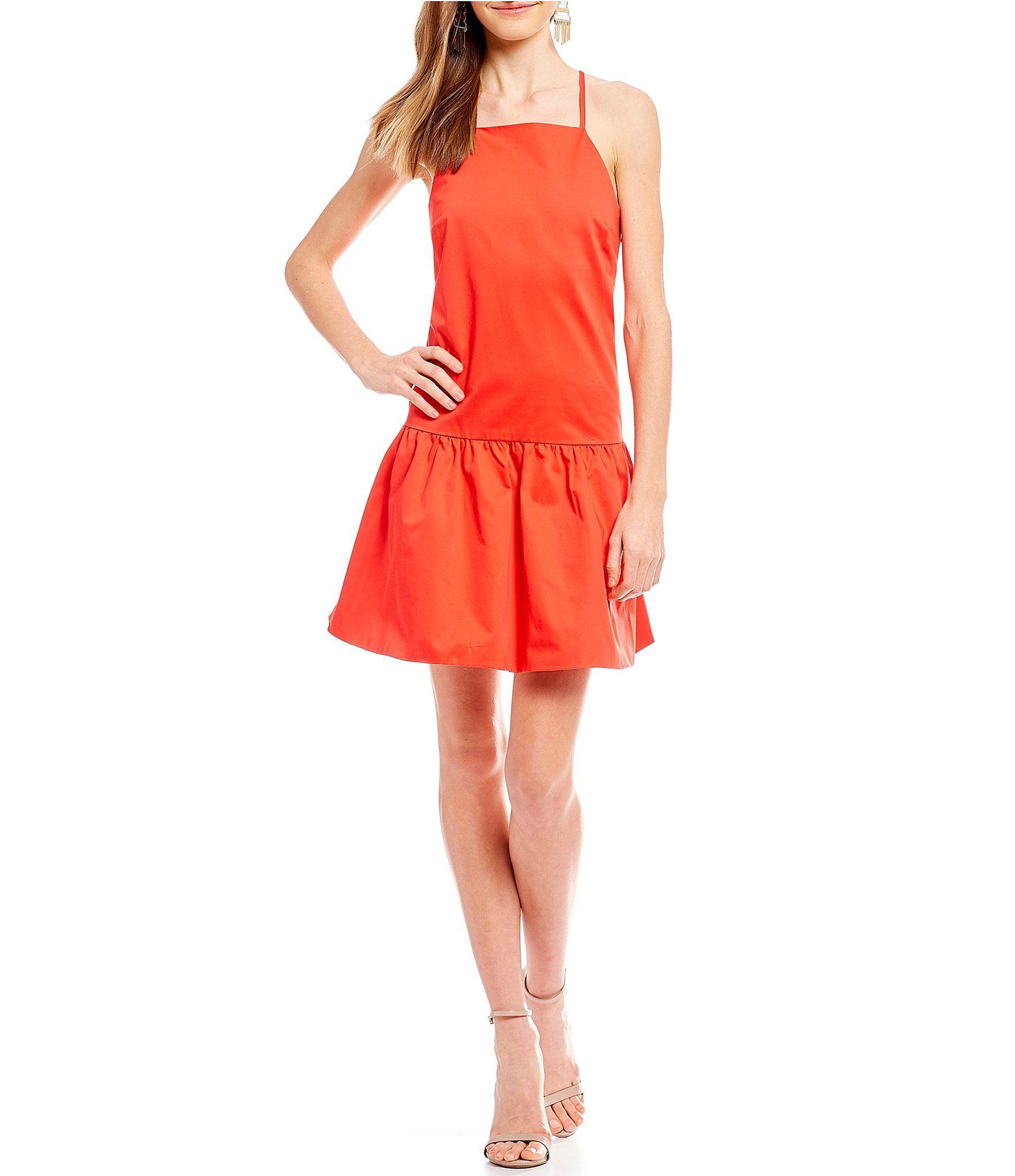 Armani Exchange Sleeveless High Neck Drop Waist Dress
