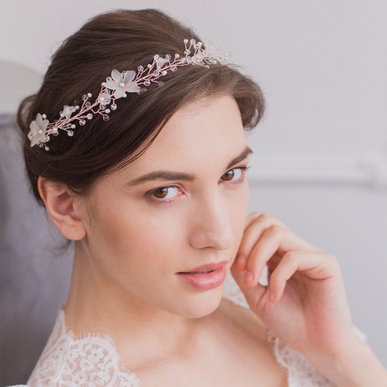 floral wedding hair vine, rose gold wedding hair vine, flower