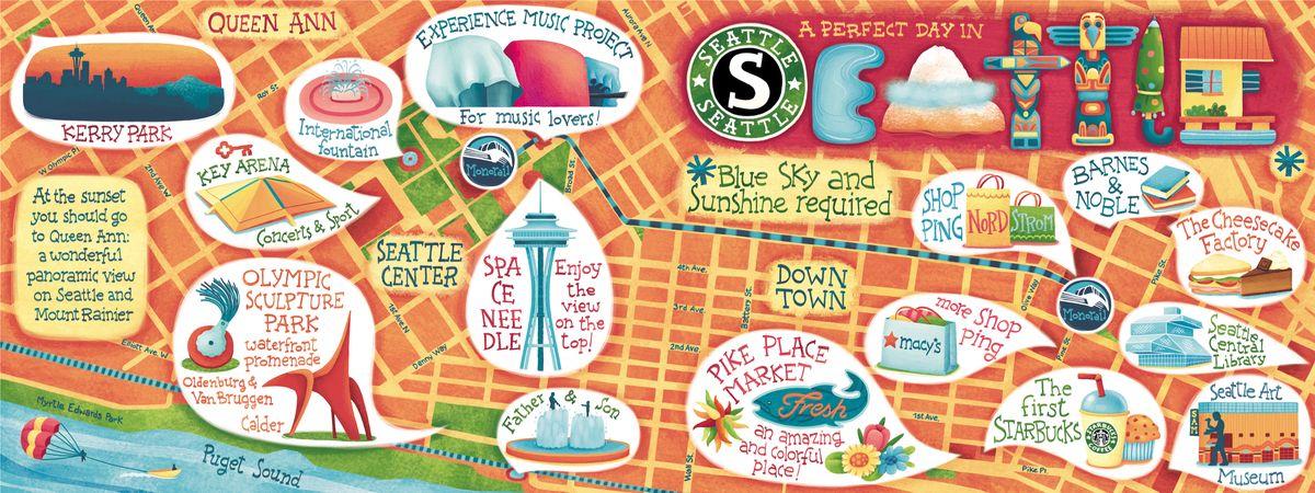 Seattle Washington by Silvia Sponza Mapas Pinterest Seattle