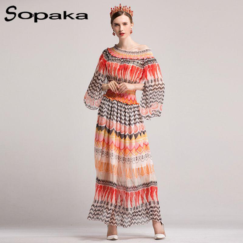 421fcfef72eb1 SOPAKA High Quality 2017 Autumn Flare Sleeve Floral Printed Runway Designer  Casual Maxi Women Dress Fashion holiday long dresses