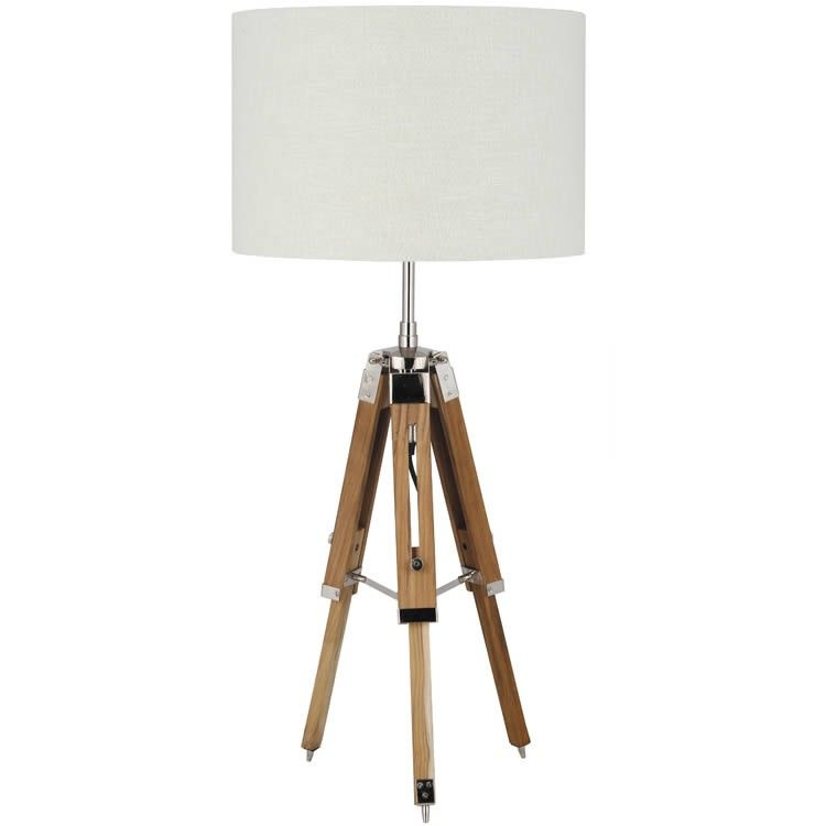 Lovely Wooden Tripod Table Lamp Natural
