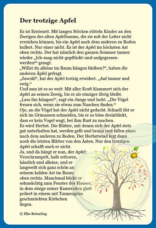 Der trotzige Apfel * Elkes Kindergeschichten im Herbst ...