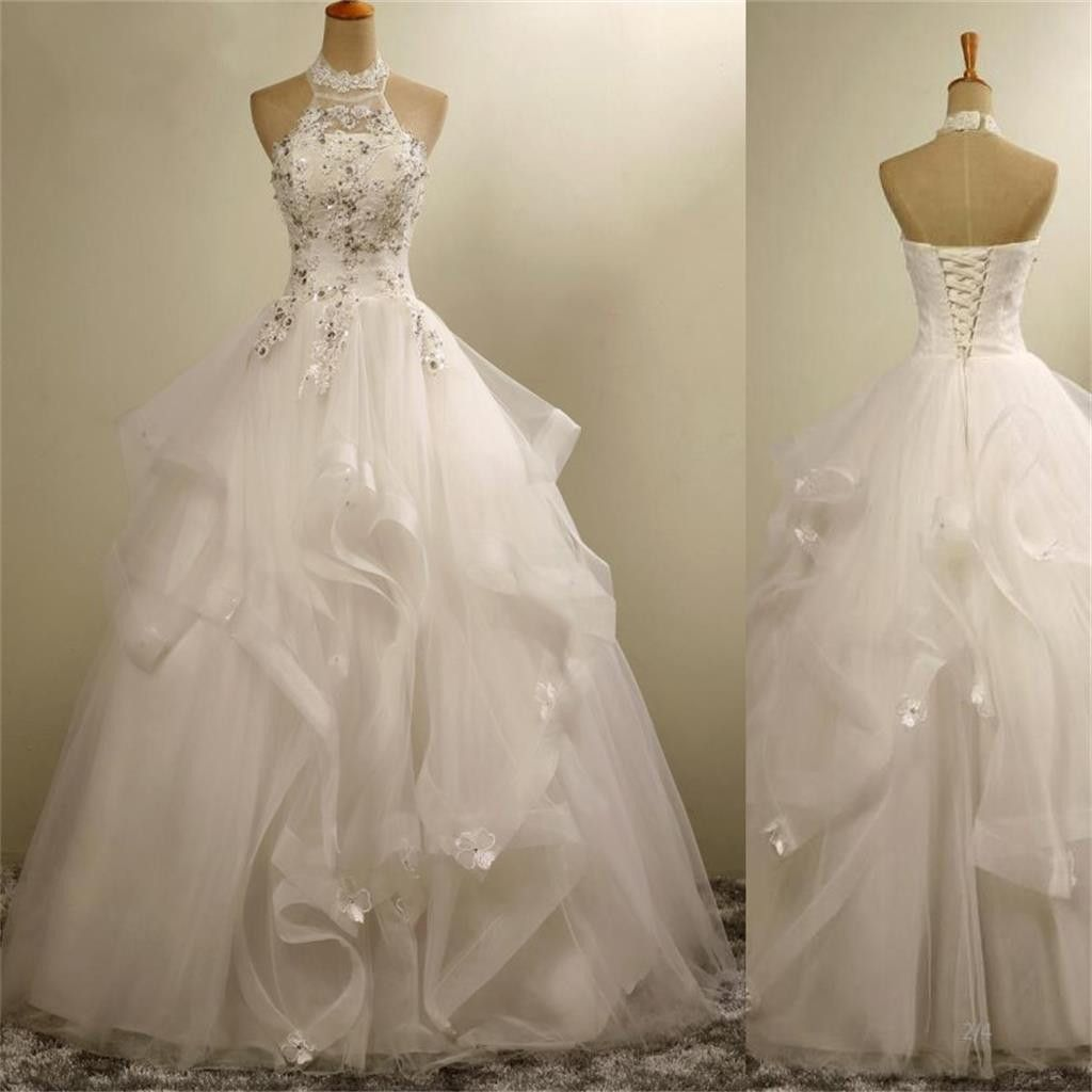 High neck wedding dress lace  High Neck Elegant Gorgeous Charming Lace Appliques Organza Wedding
