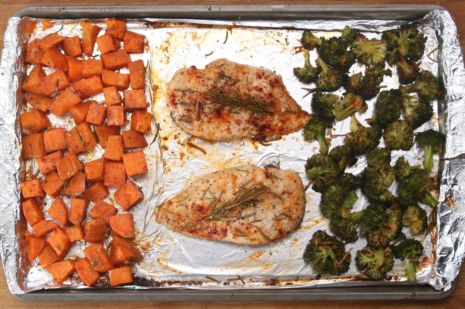 Servings: 2  What You'll Need:  Chicken Breasts - 2 boneless, skinless Sweet Potato - 1 large, diced Broccoli - 1 head or large bag of broccoli florets Garlic - 4 cloves, minced Rosemary - 2 Tbsp. Paprika - 1 Tbsp. Salt and Pepper - to taste Olive Oil - 2 Tbsp.  Directions:  Line a baking sheet with aluminum foil. Lay out the sweet potato, chicken breasts, and broccoli. Evenly distribute the garlic, rosemary, paprika, salt, and pepper over the entire pan. Drizzle with olive oil. Bake at…