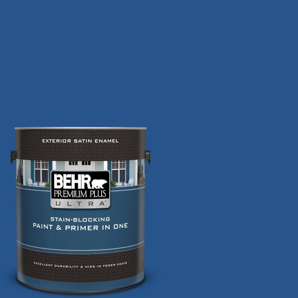 Behr Premium Plus Ultra 1 Gal Ppu15 03 Dark Cobalt Blue Satin Enamel Exterior Paint And Primer In One In 2019 Paint Primer Interior Paint Exterior Paint