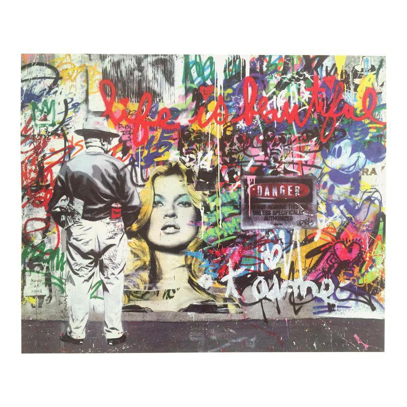 "/""Life Is Beautiful/"" Charlie Chaplin Canvas Art Print Graffiti street art"