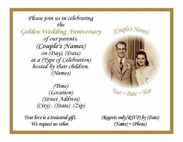 50th Wedding Invitation Templates: 60 50th Golden Wedding Anniversary Photo Invitations EBay