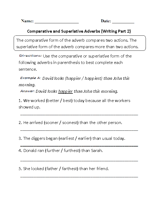Writing Comparative and Superlative Adverbs Worksheet Part 2 – Adjective Adverb Worksheet