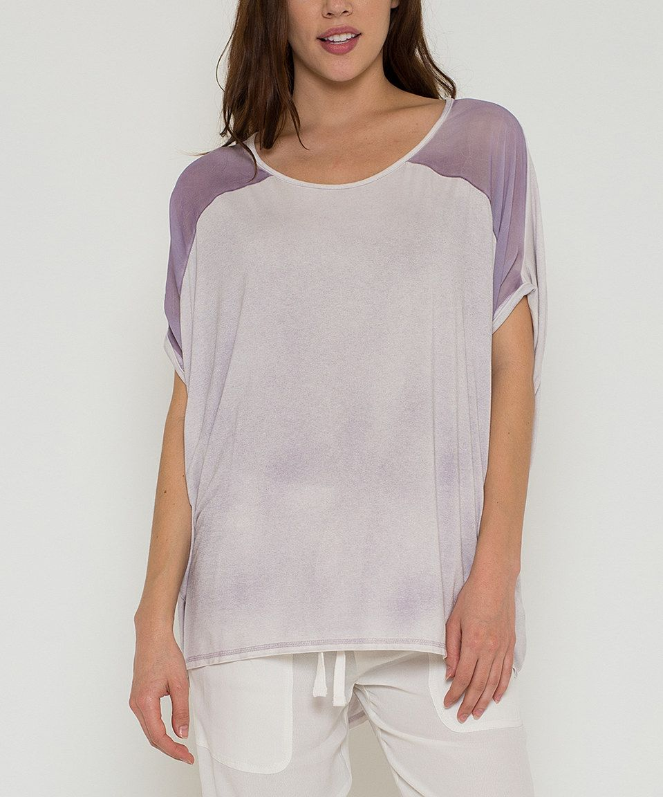 This Morning Apple Lavender Cape-Sleeve Hi-Low Top by Morning Apple is perfect! #zulilyfinds