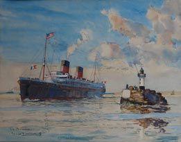 Bernard lach vre peintre officiel de la marine paquebot for Bernard peintre