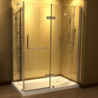 Aston 60-Inch x 32-Inch Frameless Shower Enclosure with Tray ...
