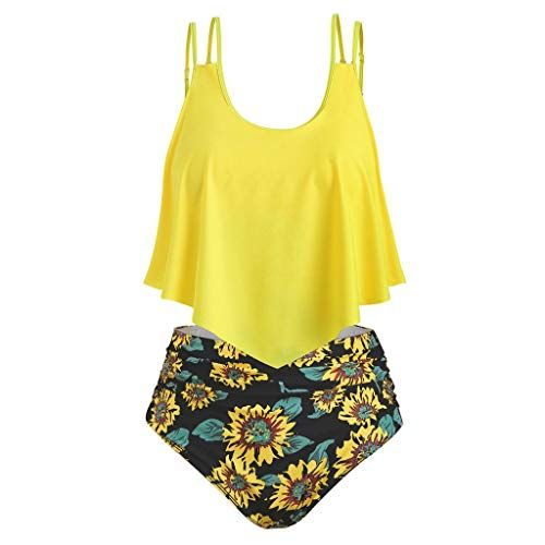 01b95a371a2 Swimsuits for Women Two Piece Bathing Suits Flounce Ruffled Top with High  Waisted Sunflower Print Bottom