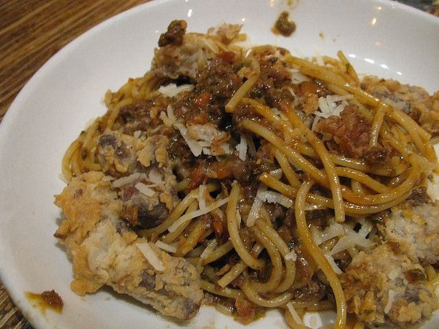fried chicken gizzards and hearts with pasta yummmmy gotta try this with angel hair