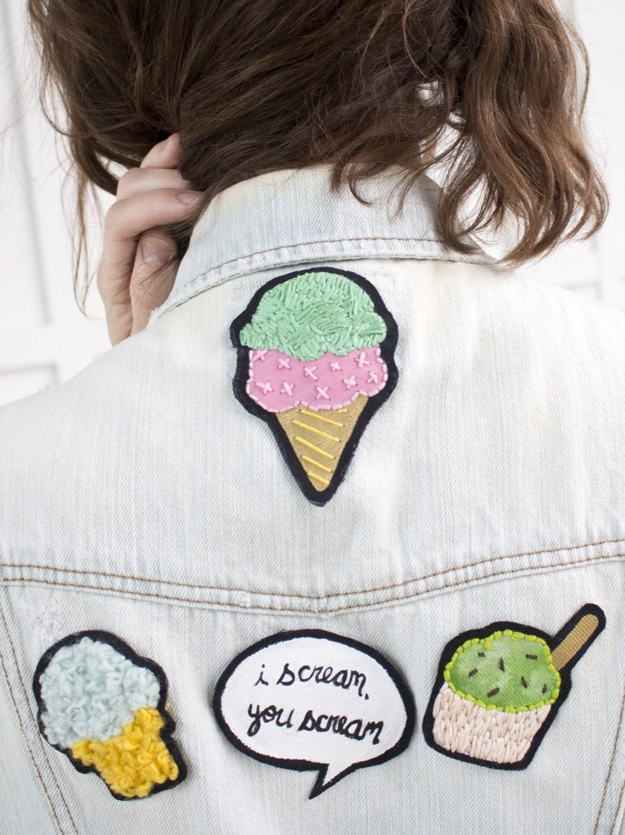 Diy This How To Make Super Sweet Ice Cream Patches Diy Patches Embroidery How To Make Patches Diy Patches